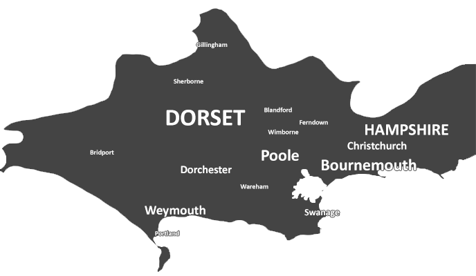 Map of Bournemouth and Poole